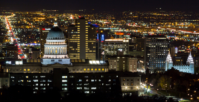 Salt Lake City at Night By Jim Boud